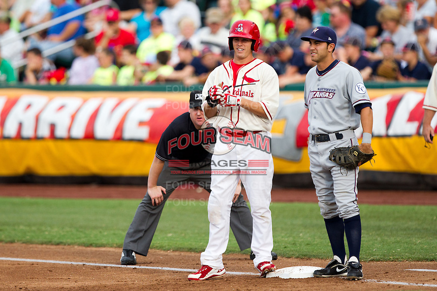 James Rapoport (27) of the Springfield Cardinals stands on first base during a game against the Northwest Arkansas Naturals and the Springfield Cardinals at Hammons Field on July 30, 2011 in Springfield, Missouri. Springfield defeated Northwest Arkansas 11-5. (David Welker / Four Seam Images)
