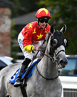 Prosper ridden by  Jack Mitchell goes down to the start during Ladies Evening Racing at Salisbury Racecourse on 15th July 2017