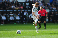 George Byers of Swansea City scores his side's third goal during the Sky Bet Championship match between Swansea City and Rotherham United at the Liberty Stadium in Swansea, Wales, UK.  Friday 19 April 2019
