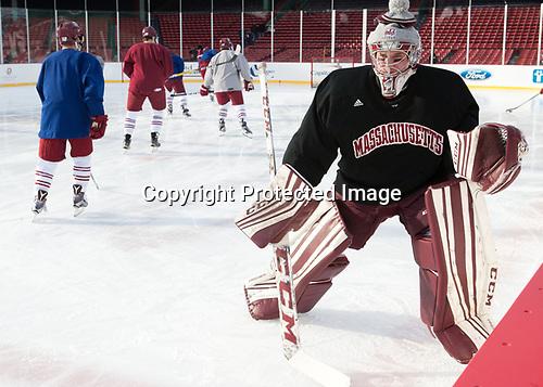 Ryan Wischow (UMass - 1) - The UMass Minutemen practiced at Fenway Park on Friday, January 6, 2017, in Boston, Massachusetts.