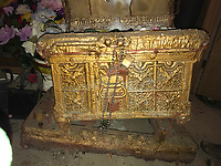 Arc of the Covenant- heavy- on a dolly- all painted gold- made of old steamer trunk-adorned with angels on top and flowers inside- use to hold 10 commandments-  Major work by preacher appx 3ft by 2 ft by 3 ft tall<br /> <br /> THIS IS PART OF OUR COLLECTION OF MARGARET'S GROCERY AND REV. H.D. DENNIS - ART WORKS in Mississippi Folk Art Foundations Collection <br /> <br /> Ms. Altman is the Founder and Director of the Mississippi Folk Art Foundation a non profit, that is dedicated to preserving Margaret's Grocery. A visionary outdoor folk environment in Vicksburg Mississippi.<br />  to see some of the collection documented by William Arnett in his book Souls Grown Deep volume 2 please see see link below.<br /> <br /> http://www.soulsgrowndeep.org/artist/rev-harmon-d-dennis<br /> <br /> <br /> https://www.gofundme.com/SaveMargaretsGrocery?lang=en-US 4.