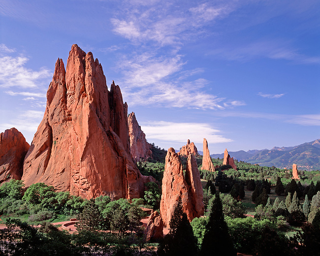 Sandstone formations in Garden of the Gods Nat'l Natural Landmark, Colorado Springs, CO