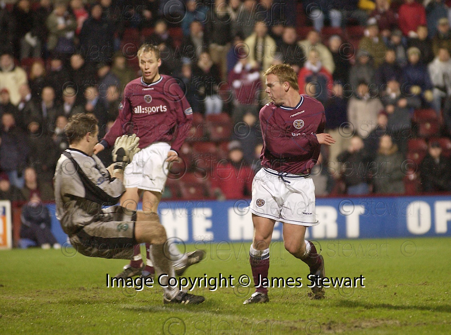 02/01/2003                   Copyright Pic : James Stewart.File Name : stewart-hearts v hibs 18.GRAHAM WEIR KNOCKS HOME HEARTS THIRD GOAL.....James Stewart Photo Agency, 19 Carronlea Drive, Falkirk. FK2 8DN      Vat Reg No. 607 6932 25.Office     : +44 (0)1324 570906     .Mobile  : +44 (0)7721 416997.Fax         :  +44 (0)1324 570906.E-mail  :  jim@jspa.co.uk.If you require further information then contact Jim Stewart on any of the numbers above.........