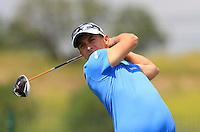 Lorenzo Gagli (ITA) on the 1st tee during Round 1 of the Challenge de Madrid, a Challenge  Tour event in El Encin Golf Club, Madrid on Wednesday 22nd April 2015.<br /> Picture:  Thos Caffrey / www.golffile.ie