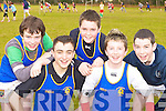 Milltown Presentation runners at the Kerry Vocational School's Cross Country athletic championships in Killarney on Friday l-r: Donal Dennehy, Darragh O'Connor, Killian O'Regan, Patrick O'Shea and Kevin Tangney