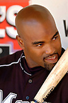 5 September 2005: Carlos Delgado, first baseman for the Florida Marlins, in the dugout prior to a game against the Washington Nationals. The Nationals defeated the Marlins 5-2 at RFK Stadium in Washington, DC. Mandatory Photo Credit: Ed Wolfstein.