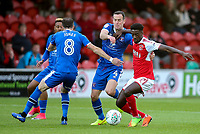 Fleetwood Town's Jordy Hiwula competing with Carlisle United's Mike Jones <br /> <br /> Photographer Andrew Kearns/CameraSport<br /> <br /> The Carabao Cup First Round - Fleetwood Town v Carlisle United Kingdom - Tuesday 8th August 2017 - Highbury Stadium - Fleetwood<br />  <br /> World Copyright &copy; 2017 CameraSport. All rights reserved. 43 Linden Ave. Countesthorpe. Leicester. England. LE8 5PG - Tel: +44 (0) 116 277 4147 - admin@camerasport.com - www.camerasport.com
