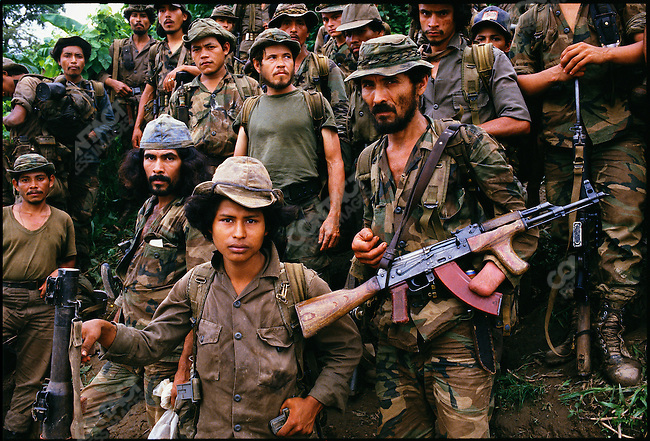 Anti-Sandinista Contras at their Coco River camp across the border from Nicaragua. Honduras, September 1987.