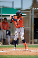 GCL Astros Yefri Carrillo (23) at bat during a Gulf Coast League game against the GCL Marlins on August 8, 2019 at the Roger Dean Chevrolet Stadium Complex in Jupiter, Florida.  GCL Marlins defeated GCL Astros 5-4.  (Mike Janes/Four Seam Images)