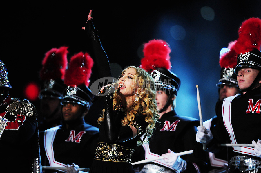 Feb 5, 2012; Indianapolis, IN, USA; Recording artist Madonna performs with during the halftime show for Super Bowl XLVI between the New York Giants and New England Patriots at Lucas Oil Stadium.  Mandatory Credit: Mark J. Rebilas-