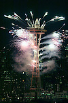 Seattle Space Needle with city in the background.  Fireworks at New Years Eve. Jim Bryant Photo. ©2010. All Rights Reserved.