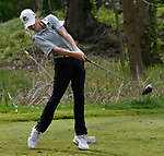 Ladue's Hadley Kramer at the 15th tee. Golfers in Suburban Central and Suburban XII Conference schools competed in a tournament at the Gateway National Golf Course in Madison, Illinois on Wednesday April 25, 2018.  Tim Vizer | Special to STLhighschoolsports.com