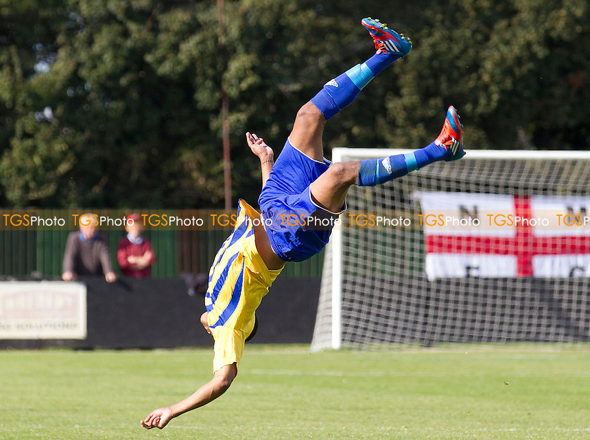 Lewis Francis of Romford FC celebrates his opening strike - Needham Market vs Romford - Ryman League Division One North Football at Bloomfields, Needham Market, Suffolk - 22/09/12 - MANDATORY CREDIT: Ray Lawrence/TGSPHOTO - Self billing applies where appropriate - 0845 094 6026 - contact@tgsphoto.co.uk - NO UNPAID USE.