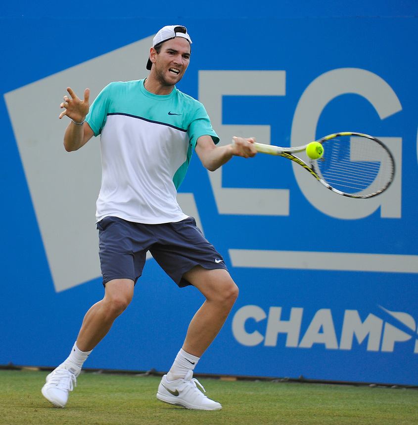 Adrian Mannarino (FRA) in action during his defeat by Marin Cilic (CRO) in their Men&rsquo;s Singles First Round match<br /> <br /> Marin Cilic (CRO) def Adrian Mannarino (FRA) 7-6, 3-6, 6-2<br /> <br /> Photographer Ashley Western/CameraSport<br /> <br /> Tennis - ATP 500 World Tour - AEGON Championships- Day 2 - Tuesday 16th June 2015 - Queen's Club - London <br /> <br /> &copy; CameraSport - 43 Linden Ave. Countesthorpe. Leicester. England. LE8 5PG - Tel: +44 (0) 116 277 4147 - admin@camerasport.com - www.camerasport.com