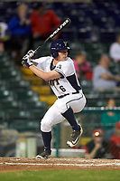 Pitt Panthers first baseman Caleb Parry (6) at bat during a game against the Ohio State Buckeyes on February 20, 2016 at Holman Stadium at Historic Dodgertown in Vero Beach, Florida.  Ohio State defeated Pitt 11-8 in thirteen innings.  (Mike Janes/Four Seam Images)
