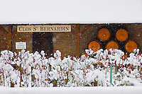 Clos Saint Bernadin - Beaune, France. Wine barrels & vines in the snow