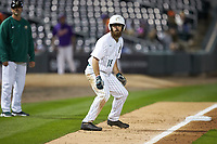 Drew Ober (18) of the Charlotte 49ers takes his lead off of third base against the Clemson Tigers at BB&T BallPark on March 26, 2019 in Charlotte, North Carolina. The Tigers defeated the 49ers 8-5. (Brian Westerholt/Four Seam Images)