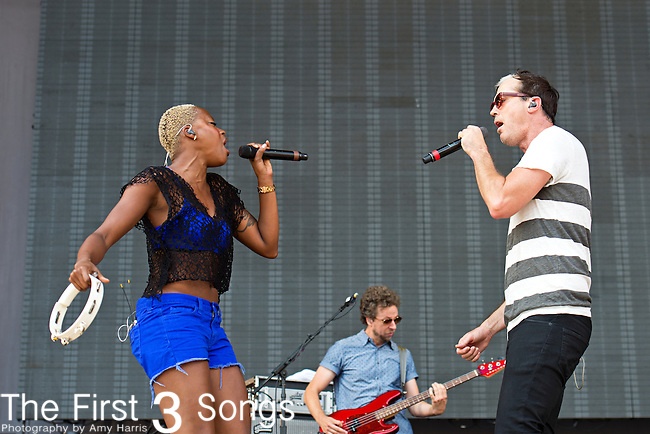Noelle Scaggs and Michael Fitzpatrick of Fitz and the Tantrums perform during the 2013 Budweiser Made in America Festival in Philadelphia, Pennsylvania.