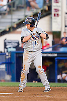 Bryan LaHair (16) of the Akron Rubber Ducks at bat against the Reading Fightin Phils at FirstEnergy Stadium on June 19, 2014 in Wappingers Falls, New York.  The Rubber Ducks defeated the Fightin Phils 3-2.  (Brian Westerholt/Four Seam Images)