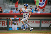 St. Lucie Mets left fielder Gene Cone (9) runs home during a game against the Florida Fire Frogs on April 19, 2018 at Osceola County Stadium in Kissimmee, Florida.  St. Lucie defeated Florida 3-2.  (Mike Janes/Four Seam Images)