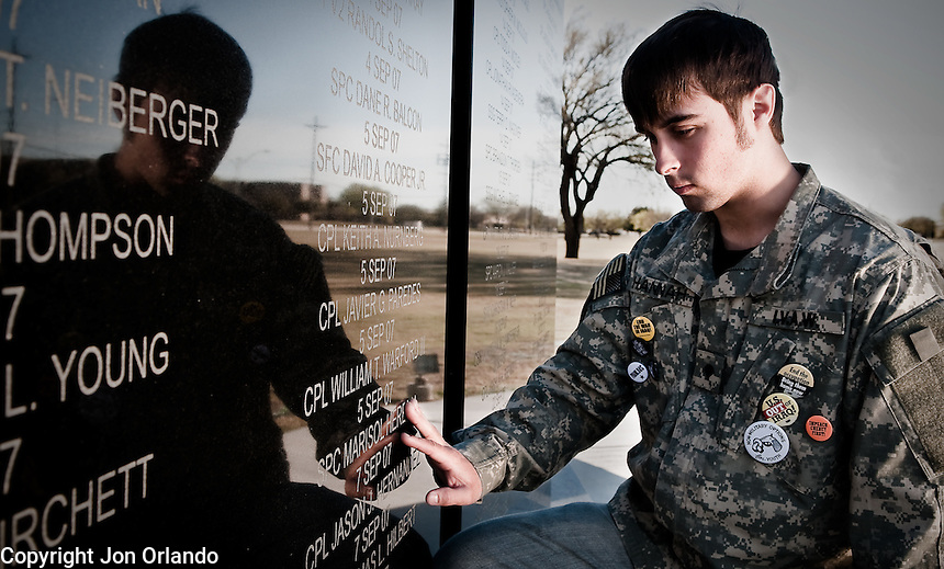 Bryan Hannah, an Iraq war veteran and member of Iraq Veterans Against the War, remembers the life a fellow soldier and friend at a memorial on Fort Hood, in central Texas.
