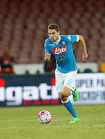 Napoli's Jorginho  controls the ball during the  italian serie a soccer match against   Juventus,    at  the San  Paolo   stadium in Naples  Italy , September 26 , 2015