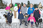 Enjoying the heavy snow fall in Currow Monday morning was front row l-r: Joshua Ryan, Ben Brosnan, Charlie Brosnan, Alannah Kelly. Back row: Kelly Ryan, Miriam Ryan Dan Joe the Snowman, Elena Gonzalez, Maria Brosnan, Julieanne Kelly and Darragh Kelly