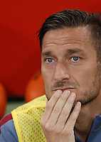 Calcio, Serie A: Roma vs Bologna. Roma, stadio Olimpico, 11 aprile 2016.<br /> Roma&rsquo;s Francesco Totti sits on the bench during the Italian Serie A football match between Roma and Bologna at Rome's Olympic stadium, 11 April 2016.<br /> UPDATE IMAGES PRESS/Isabella Bonotto