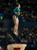 22nd March 2018, Arena Birmingham, Birmingham, England; Gymnastics World Cup, day two, womens competition; Hannah Chrobok (CAN) on the Vault during her competition routine