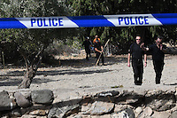 Pictured: Special forensics police officers search a field in Kos, Greece. Monday 26 September 2016<br /> Re: Police teams searching for missing toddler Ben Needham on the Greek island of Kos have said they are &quot;optimistic&quot; about new excavation work.<br /> Ben, from Sheffield, was 21 months old when he disappeared on 24 July 1991 during a family holiday.<br /> Digging has begun at a new site after a fresh line of inquiry suggested he could have been crushed by a digger.<br /> South Yorkshire Police (SYP) said it continued to keep an &quot;open mind&quot; about what happened to Ben.