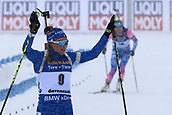 17th March 2019, Ostersund, Sweden; IBU World Championships Biathlon, day 9, mass start women; Dorothea Wierer (ITA) crosses the finish line ahead of Ekaterina Yurlova-Percht (RUS)