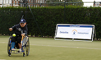 Queens Club, GREAT BRITAIN,   Wheel chair Tennis, Ben, playing he stroke. Before the  press Conference to announce the joint initiative between British Paralympic Association and Deloitte  of 'www.Parasport.org.uk' online information service, on Thur's.  03.05.2007. London. [Credit: Peter Spurrier/Intersport Images]