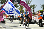 Israel Cycling Academy riders arrive at sign on before the start of Stage 2 of the 101st edition of the Giro d'Italia 2018 running 167km from Haifa to Tel Aviv, Israel. 5th May 2018.<br /> Picture: LaPresse/Fabio Ferrari | Cyclefile<br /> <br /> <br /> All photos usage must carry mandatory copyright credit (&copy; Cyclefile | LaPresse/Fabio Ferrari)