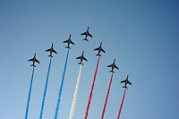 Patrouille de France overflying the peloton on the Champs-Elysées leaving the tricolore behind<br /> <br /> Tour de France 2013<br /> (final) stage 21: Versailles - Paris Champs-Elysées<br /> 133,5km