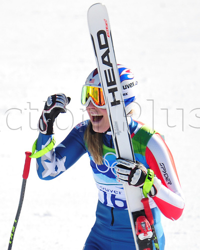 Lindsey Vonn of USA celebrates after her race winning gold medal at Women's Downhill race at the Vancouver 2010 Olympic Games on 17 February 2010 in Whistler, Canada. Photo: Peter Kneffel /Actionplus. Editorial UK Licenses Only