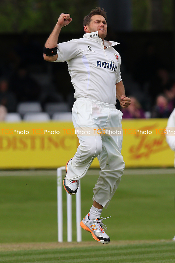 Greg Smith of Essex leaps to celebrate taking the wicket of Matt Coles - Essex CCC vs Kent CCC - LV County Championship Division Two Cricket at the Essex County Ground, Chelmsford, Essex - 19/04/15 - MANDATORY CREDIT: TGSPHOTO - Self billing applies where appropriate - contact@tgsphoto.co.uk - NO UNPAID USE