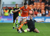 Blackpool's Ryan Hardie is tackled by Macclesfield Town's Fiacre Kelleher<br /> <br /> Photographer Kevin Barnes/CameraSport<br /> <br /> The Carabao Cup First Round - Blackpool v Macclesfield Town - Tuesday 13th August 2019 - Bloomfield Road - Blackpool<br />  <br /> World Copyright © 2019 CameraSport. All rights reserved. 43 Linden Ave. Countesthorpe. Leicester. England. LE8 5PG - Tel: +44 (0) 116 277 4147 - admin@camerasport.com - www.camerasport.com