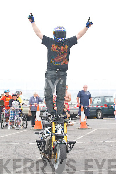 Richie Ruane 2 times world champion in stunt motorbiking who showed his skills at The Ballyheigue Summer Festival on Sunday.