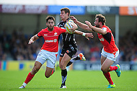 Ollie Devoto of Exeter Chiefs takes on the Saracens defence. Aviva Premiership match, between Exeter Chiefs and Saracens on September 11, 2016 at Sandy Park in Exeter, England. Photo by: Patrick Khachfe / JMP
