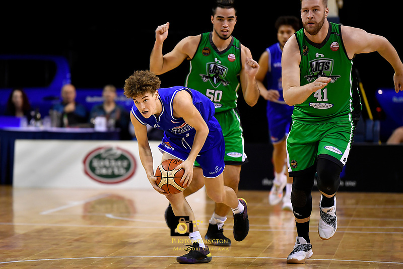 Saints' Finn McClure in action during the NBL - Cigna Saints v Manawatu Jets at TSB Bank Arena, Wellington, New Zealand on Sunday 30 June 2019. <br /> Photo by Masanori Udagawa. <br /> www.photowellington.photoshelter.com