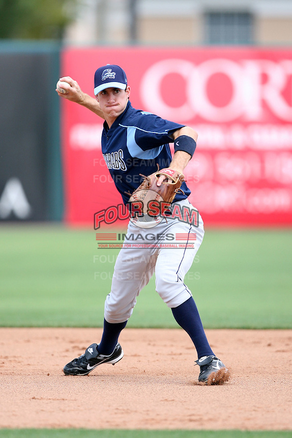 April 12, 2009:  Infielder Matt Hall of the Charlotte Stone Crabs, Florida State League Class-A affiliate of the Tampa Bay Rays, during a game at Hammond Stadium in Fort Myers, FL.  Photo by:  Mike Janes/Four Seam Images