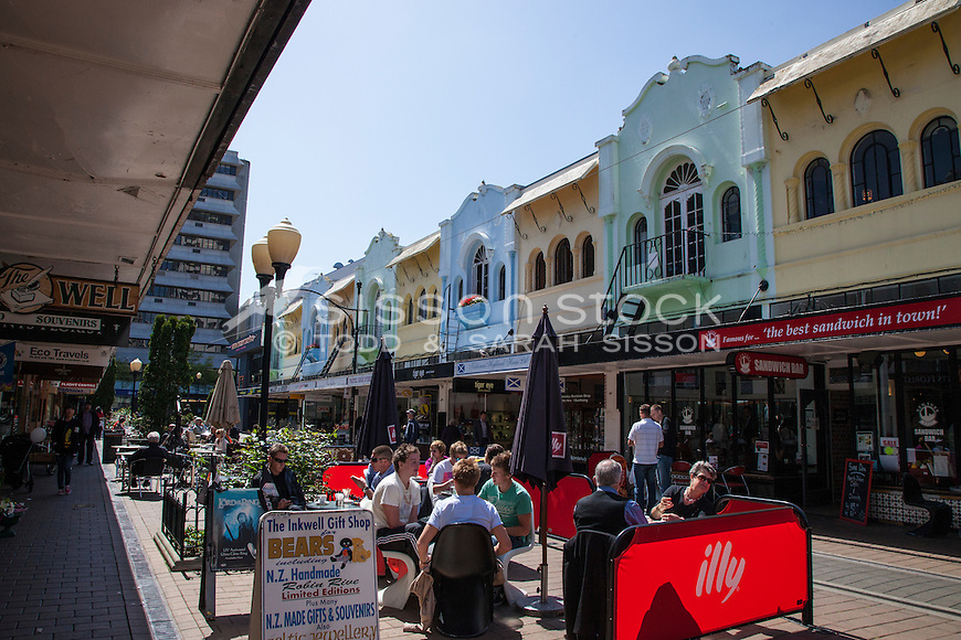 People eating outside in cafes on New Regent Street, Christchurch, New Zealand - stock photo, canvas, fine art print