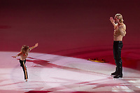 Alexander Plushenko (L) son of Olypmic and European champion figure skater Evgeny Plushenko (R) of Russia performs during the Kings on Ice skating show in Budapest, Hungary on April 29, 2018. ATTILA VOLGYI