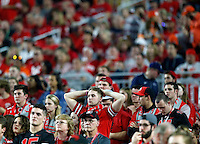 Ohio State Buckeyes fans have a hard time watching after Clemson Tigers scored the second touchdown in the 1st half of the College Football Playoff semifinal Fiesta Bowl against the Clemson Tigers at University of Phoenix Stadium in Glendale, Arizona on Dec. 31, 2016.