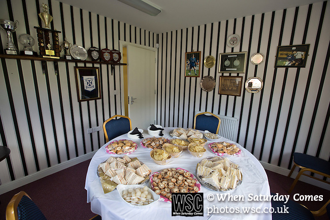 Cefn Druids AFC 1 Buckley Town 0, 12/04/2014. The Rock, Cymru Alliance league. The refreshment buffet laid out in the boardroom at The Rock, Rhosymedre, home to Cefn Druids AFC, prior to the club's final home game of the season against Buckley Town in the Cymru Alliance league. Druids, reputedly the oldest football club in Wales, won the Alliance league the previous week and were awarded the trophy after the Buckley Town match, which they won by 1 goal to nil, watched by a crowd of 246. The Cymru Alliance was the second tier of Welsh football based in north and mid Wales, promotion from which led directly into the Welsh Premier League. Photo by Colin McPherson.