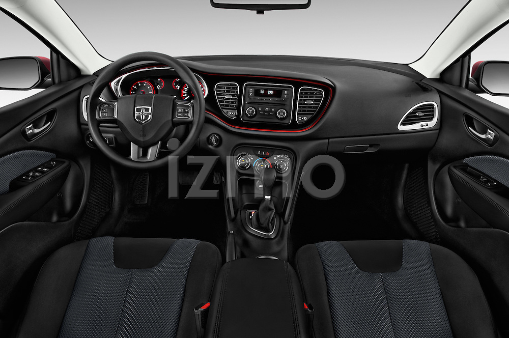 Stock photo of straight dashboard view of a 2015 Dodge Dart SE 4 Door Sedan Dashboard