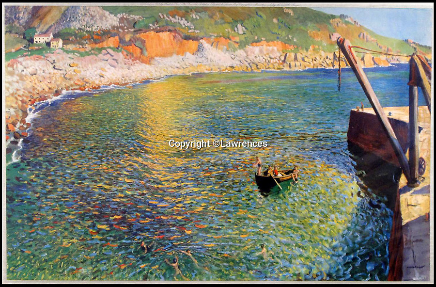 BNPS.co.uk (01202 558833)<br /> Pic: Lawrences/BNPS<br /> <br /> Also included in the sale is this print of another Dame Elizabeth Frank view of Lamorna Cove that shows the cottage.<br /> <br /> Buy the View...or buy the painting.<br /> <br /> A watercolour depicting a picturesque Cornish cove has emerged for sale offering a perfect consolation prize to those who can't afford the quaint cottage for sale at the real beauty spot.<br /> <br /> The cottage at Lamorna Cove, near Penzance, has been on the market since last summer and currently has an asking price of £875,000.<br /> <br /> The fee required to purchase the breathtaking coastal plot puts it out of reach for most people but one auction house say hope is not lost.<br /> <br /> But the painting of the idyllic spot by renowned artist Dame Elizabeth Frank is to sell with Lawrence's Auctioneers who are preparing for much more modest offers of around £15,000.