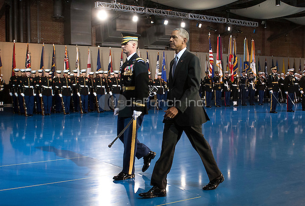 United States President Barack Obama is escorted by Army Col. Jason T Garkey as he inspects the Armed Forces Honor Guard during his Armed Forces Full Honor Review Farewell Ceremony at Joint Base Myers-Henderson Hall, in Virginia on January 4, 2017. The five braces of the military honored the president and vice-president for their service as they conclude their final term in office. <br /> Credit: Kevin Dietsch / Pool via CNP /MediaPunch