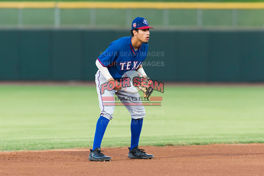 AZL Rangers shortstop Jonathan Ornelas (10) during an Arizona League game against the AZL Giants Black at Scottsdale Stadium on August 4, 2018 in Scottsdale, Arizona. The AZL Giants Black defeated the AZL Rangers by a score of 6-3 in the second game of a doubleheader. (Zachary Lucy/Four Seam Images)