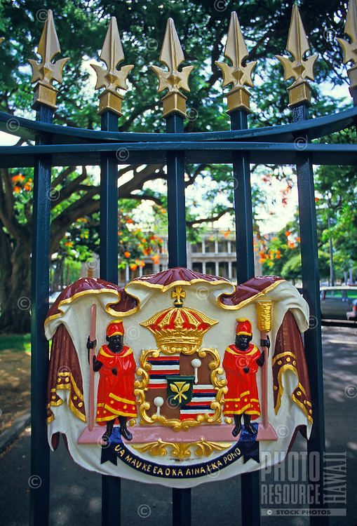 Hawaii state seal on the entrance gate to Iolani Palace